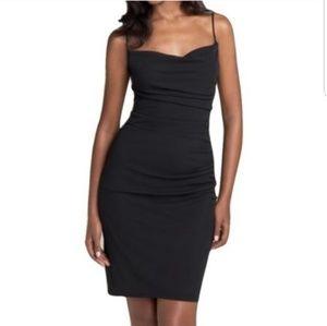 David Meister Black Ruched Jersey Slip Dress